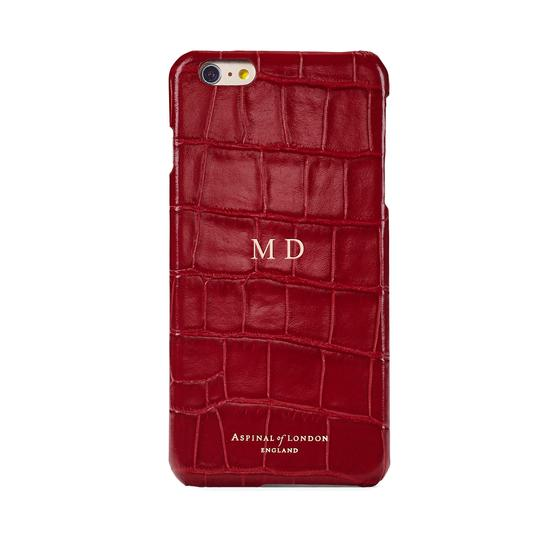 iPhone 6 Plus Leather Cover in Deep Shine Red Croc with Cream Suede from Aspinal of London
