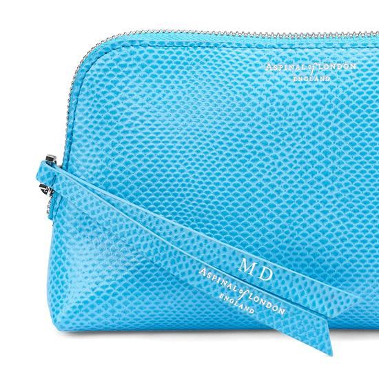 Small Essential Cosmetic Case in Aquamarine Lizard from Aspinal of London