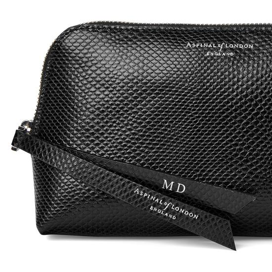 Small Essential Cosmetic Case in Jet Black Lizard from Aspinal of London