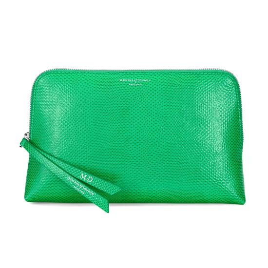 Large Essential Cosmetic Case in Grass Green Lizard from Aspinal of London