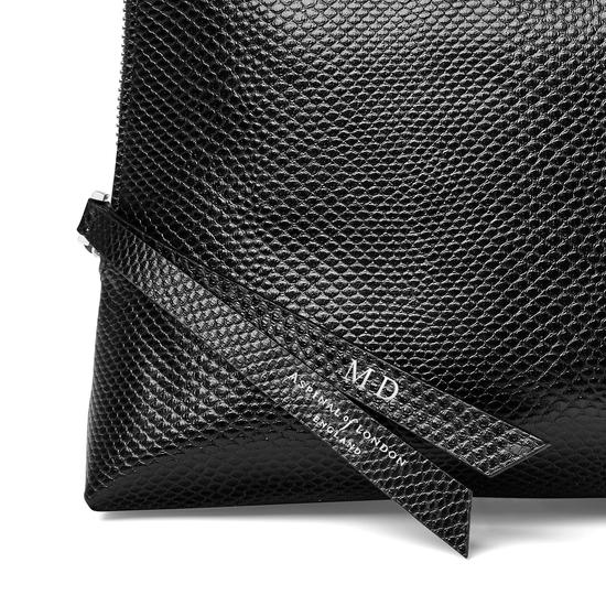 Large Essential Cosmetic Case in Jet Black Lizard from Aspinal of London