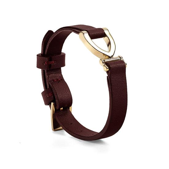 Stirrup Bracelet in Smooth Burgundy from Aspinal of London