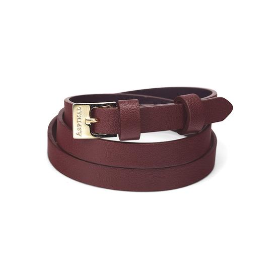 Mayfair Skinny Double Wrap Leather Bracelet in Smooth Bordeaux from Aspinal of London