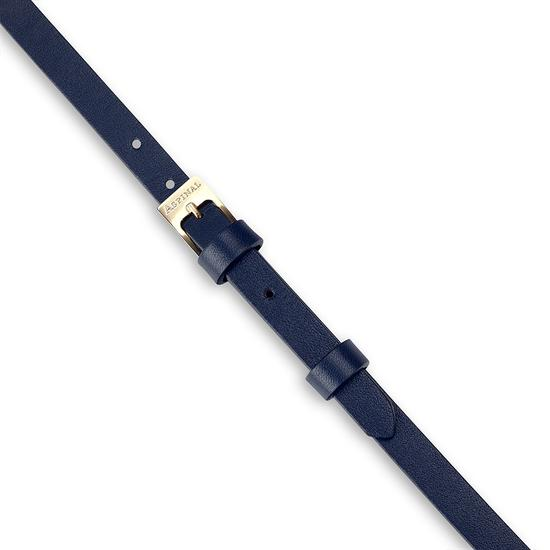 Mayfair Skinny Double Wrap Leather Bracelet in Smooth Blue Moon from Aspinal of London