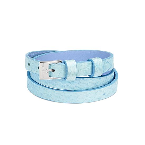 Mayfair Skinny Double Wrap Leather Bracelet in Misty Blue Snake from Aspinal of London