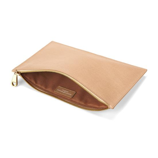 Large Essential Flat Pouch in Deer Saffiano from Aspinal of London