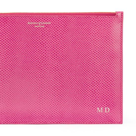Large Essential Flat Pouch in Raspberry Lizard from Aspinal of London