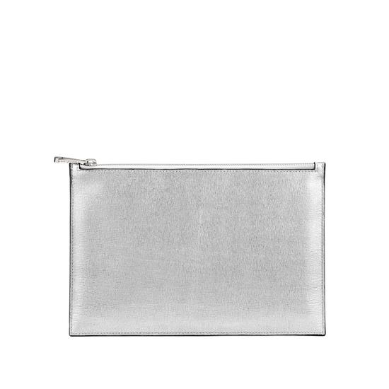 Large Essential Flat Pouch in Silver Saffiano & Smooth Black from Aspinal of London