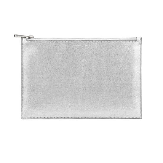Large Essential Flat Pouch in Silver Saffiano & Smooth White from Aspinal of London