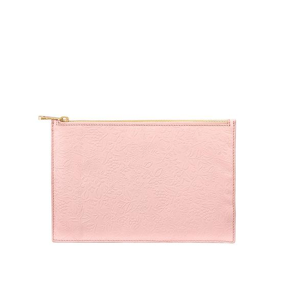 Large Essential Flat Pouch in Peach Embossed Flower & Smooth Peach from Aspinal of London