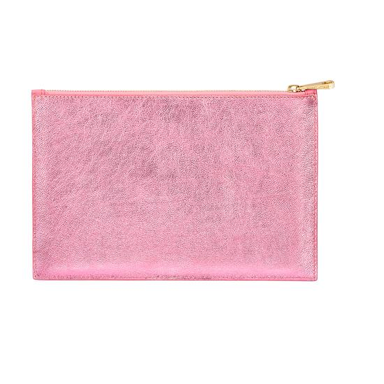 Large Essential Flat Pouch in Smooth Blossom & Pink Metallic from Aspinal of London