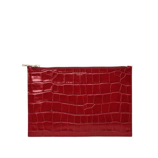 Large Essential Flat Pouch in Deep Shine Red Croc from Aspinal of London