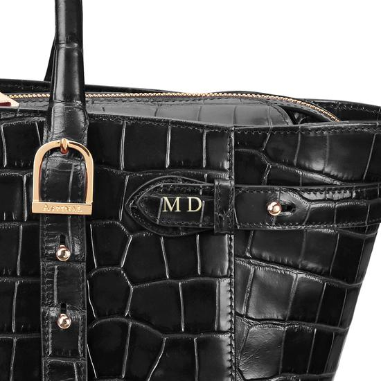 Midi Marylebone Tech Tote in Deep Shine Black Croc from Aspinal of London
