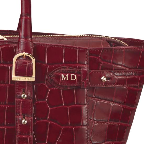Midi Marylebone Tech Tote in Deep Shine Bordeaux Croc from Aspinal of London