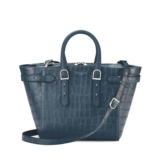 Midi Marylebone Tech Tote in Teal Nubuck Croc from Aspinal of London
