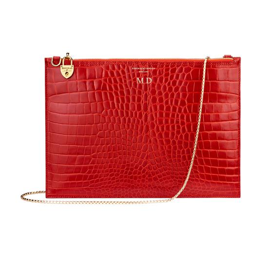 Soho Double Sided Clutch in Deep Shine Red Croc from Aspinal of London