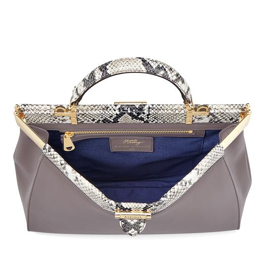 Large Florence Frame Bag in Chanterelle & Python Print from Aspinal of London