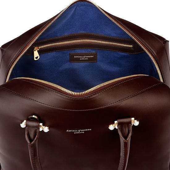 Large Pearl Bowling Bag in Smooth Chocolate from Aspinal of London