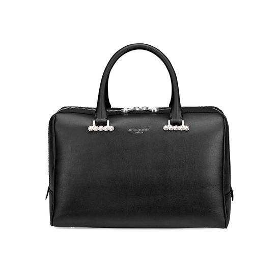 Large Pearl Bowling Bag in Smooth Black from Aspinal of London