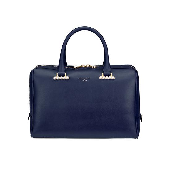 Large Pearl Bowling Bag in Smooth Blue Moon from Aspinal of London