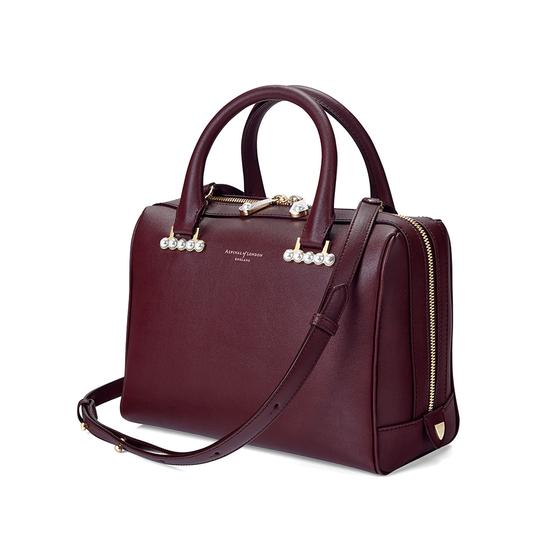 Mini Pearl Bowling Bag in Smooth Burgundy from Aspinal of London