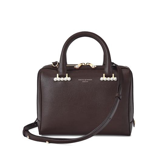 Mini Pearl Bowling Bag in Smooth Chocolate Brown from Aspinal of London