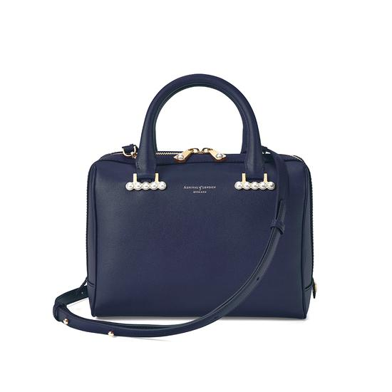 Mini Pearl Bowling Bag in Smooth Blue Moon from Aspinal of London