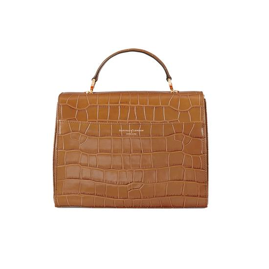 Mayfair Bag in Deep Shine Vintage Tan Croc from Aspinal of London