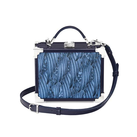 Mini Trunk Clutch in Pegasus Blue & Yellow Feather Print from Aspinal of London