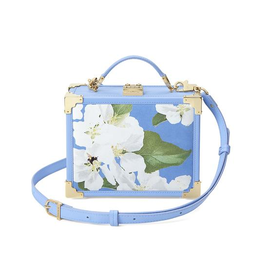 Beautiful Soul Mini Trunk Clutch in Smooth Misty Blue & Blossom Print from Aspinal of London