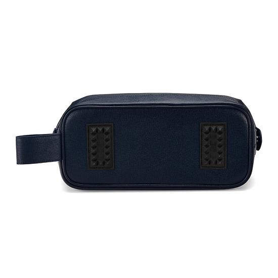 Men's Leather Wash Bag in Navy Saffiano from Aspinal of London