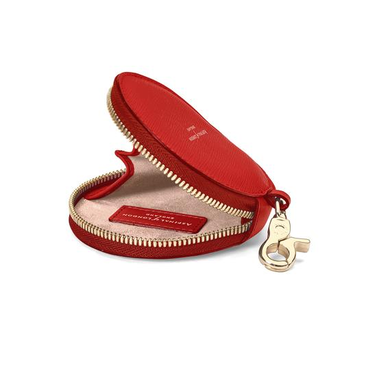 Round Coin Purse with Keyring in Scarlet Saffiano from Aspinal of London