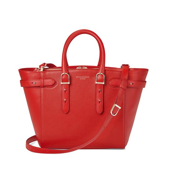 Midi Marylebone Tech Tote in Scarlet Saffiano from Aspinal of London