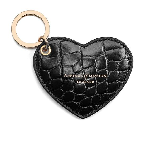 Heart Keyring in Black Croc from Aspinal of London