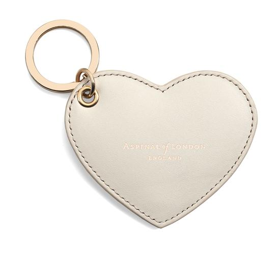 Heart Key Ring in Smooth Ivory from Aspinal of London