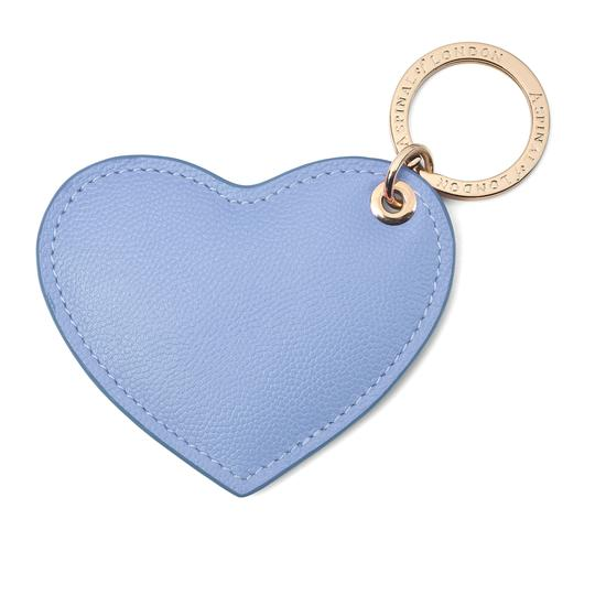 Heart Key Ring in Misty Blue Kaviar from Aspinal of London