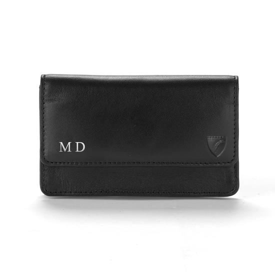 Business & Credit Card Case in Misty Blue Kaviar from Aspinal of London
