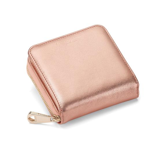 Mini Continental Zipped Coin Purse in Rose Gold Metallic from Aspinal of London
