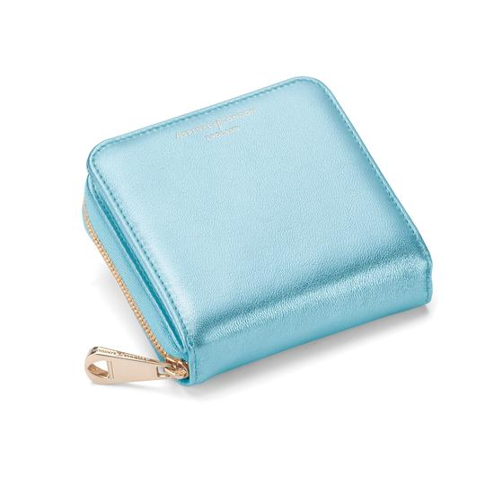 Mini Continental Zipped Coin Purse in Misty Blue Metallic from Aspinal of London