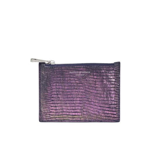 Small Essential Flat Pouch in Iridescent Lizard from Aspinal of London