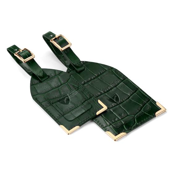 Set of 2 Luggage Tags in Forest Green Croc from Aspinal of London