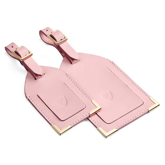 Set of 2 Luggage Tags in Blush Pink Nappa from Aspinal of London