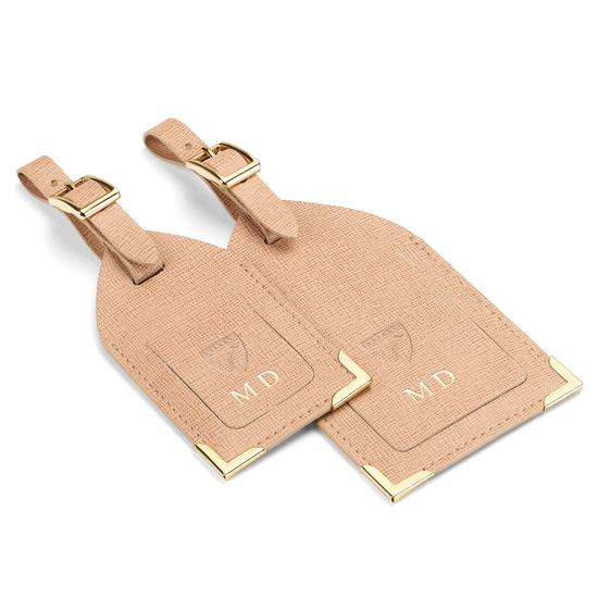 Set of 2 Luggage Tags in Peach Kaviar from Aspinal of London