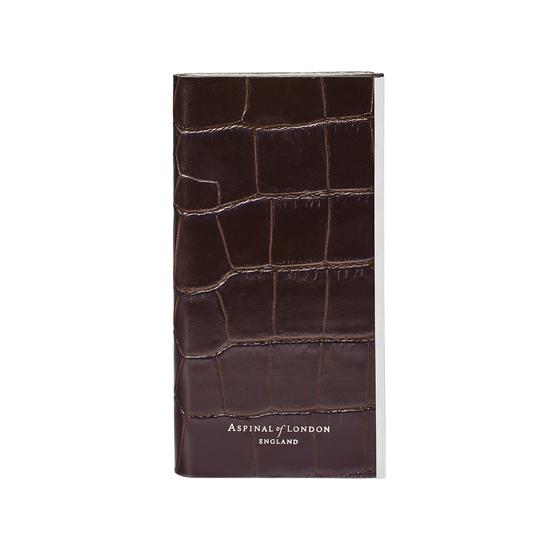 iPhone 7/8 Leather Book Case in Deep Shine Amazon Brown Croc & Stone Suede from Aspinal of London