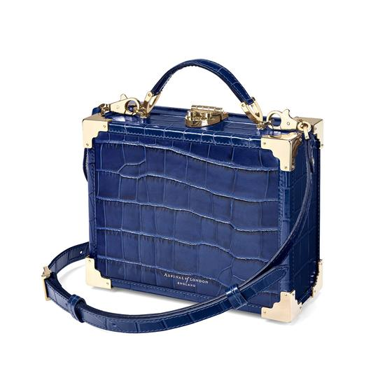 Mini Trunk Clutch in Deep Shine Navy Croc from Aspinal of London