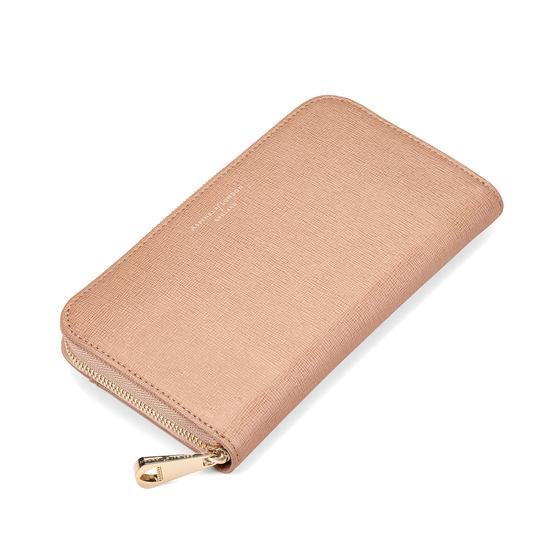 Continental Clutch Zip Wallet in Deer Saffiano from Aspinal of London