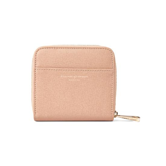 Mini Continental Zipped Coin Purse in Deer Saffiano from Aspinal of London