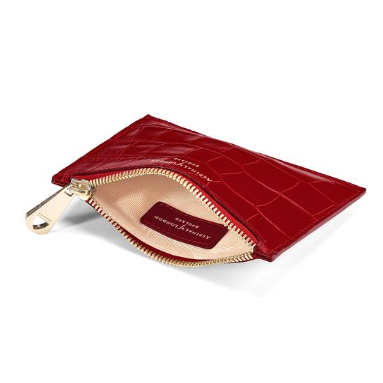 Small Essential Flat Pouch in Deep Shine Red Croc from Aspinal of London