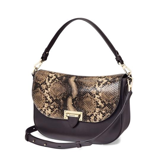 Slouchy Saddle Bag in Smooth Dark Brown & Tan Snake Print from Aspinal of London