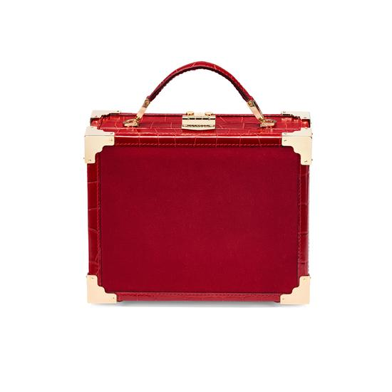 Mini Trunk Clutch in Scarlet Velvet & Deep Shine Red Croc from Aspinal of London